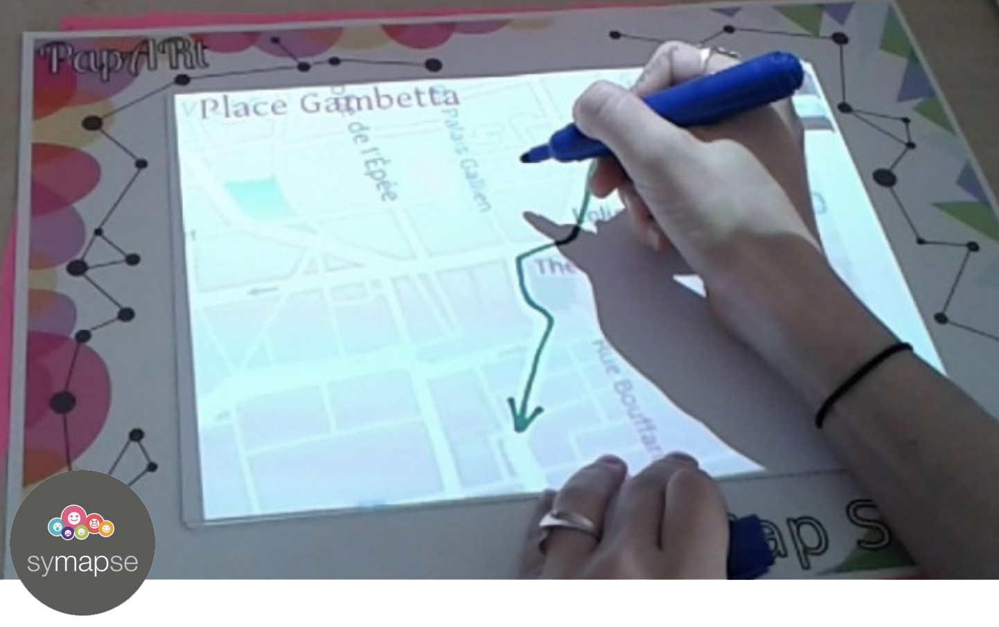 drawing on a paper map using Spatial Augmented Reality